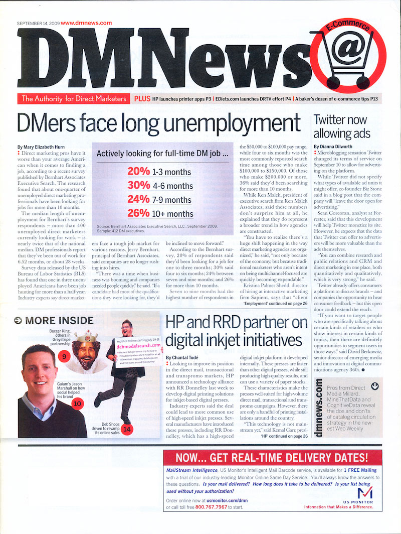 Bernhart Associates Headlines DM News in 2006 and 2009
